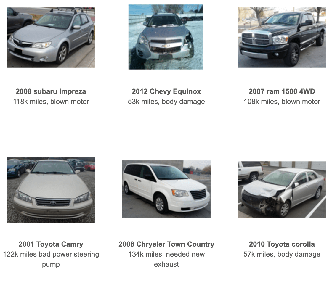 junk cars, older cars for sale in Utah